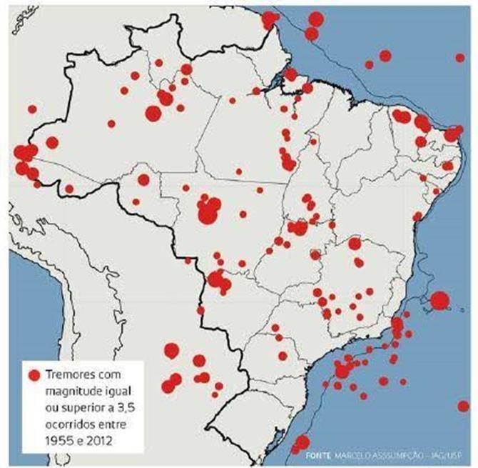 Terremotos com magnitude igual ou superior a 3,5 ocorridos entre 1955 a 2012